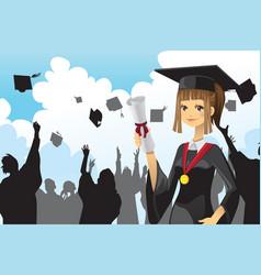 graduation girl holding diploma vector image