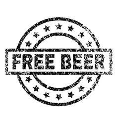 Grunge textured free beer stamp seal vector