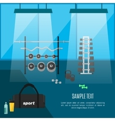Gym interior with sports equipment vector