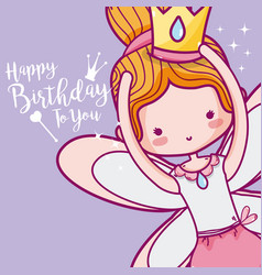 Happy birthday with cute fairy card vector