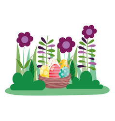 Happy easter whisker basket with decorated eggs on vector