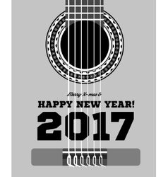 happy new year on the background of guitars vector image