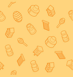 honey flat outline isometric pattern vector image