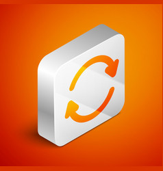 Isometric refresh icon isolated on orange vector