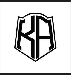 Ka logo monogram with shield shape outline design vector