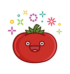 Kawaii smiling tomato cartoon vector