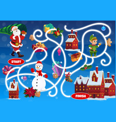 Kid labyrinth maze with christmas fairy characters vector