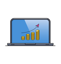 laptop with financial diagram on screen vector image