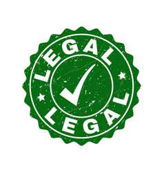 legal scratched stamp with tick vector image