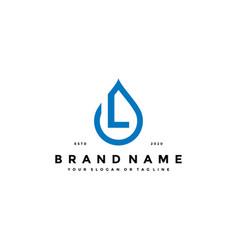 Letter l water drop logo design vector