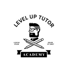 Level up tutor logo with man wear glasses vector