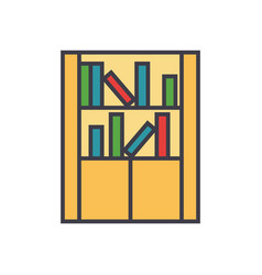 library furniture bookcase flat line vector image
