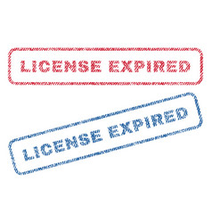 License expired textile stamps vector