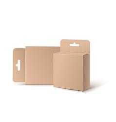 mockup cardboard boxes with hang loop vector image