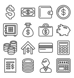 Money and banking icon set line style vector
