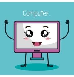 Monitor computer character kawaii style vector
