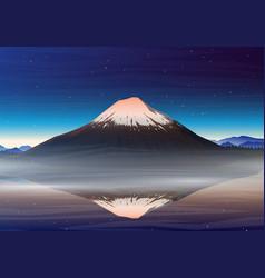 mountain fuji night panoramic view vector image