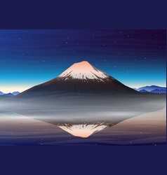 Mountain fuji night panoramic view with vector