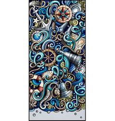 Nautical hand drawn doodle banner cartoon vector