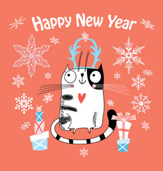new year card with a happy cat vector image