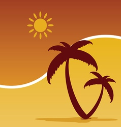 Palm with summer icom color vector