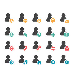 person and user icon set vector image