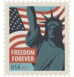 Postage stamp with statue liberty and flag usa vector