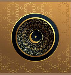 Premium islamic moon and star golden background vector