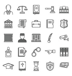 Public prosecutor icons set outline style vector