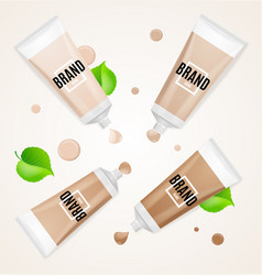 realistic empty template foundation cream set vector image