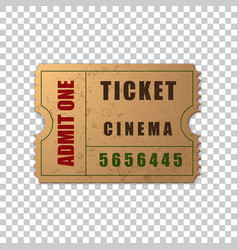 realistic vintage retro cinema ticket isolated vector image