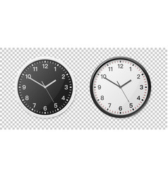 realistic white and black wall office clock icon vector image