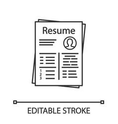 Resume linear icon vector