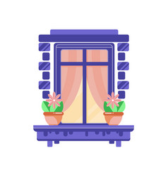 retro blue window frame with plants in ceramic vector image