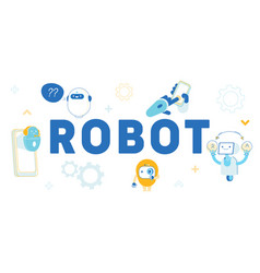 Robots artificial intelligence in human life vector