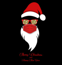 santa claus head label wears red surgical mask vector image
