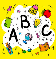 school beginnings abc letters doodle style vector image