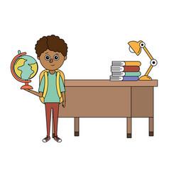 school child boy cartoon vector image