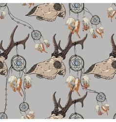 Seamless pattern with deer skull and dreamcatcher vector