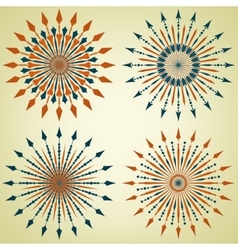 set arrow sunbursts vector image