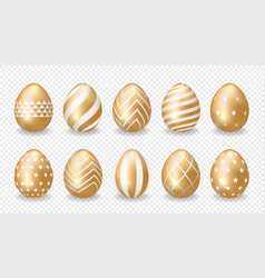 set golden easter eggs vector image