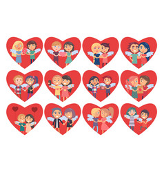 Set of hearts with boy girl couples wings on back vector