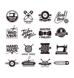 set of logos for handmade shops tailor salon vector image