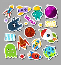 Set of stickers with space objects and monsters vector