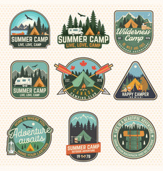 set of summer camp patches concept for vector image