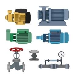 Set-water motor pump valves for pipeline vector