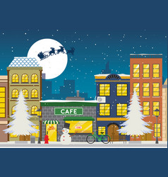 Shopping street at winter and christmas vector