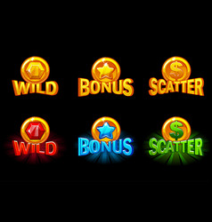 slots icon templates gold and color icons vector image