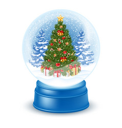 Snowglobe with christmas tree vector