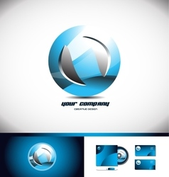 Sphere circle blue logo icon 3d vector